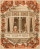 Victorian illustration of children looking out the bay window of their family estate 1881 Chromolithograph