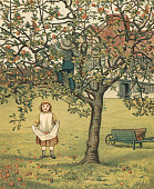 Victorian illustration of children picking apples in the fruit orchard of their family estate 1881 Chromolithograph