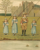 Victorian illustration of four siblings fishing in the river on their estate grounds 1881 Chromolithograph