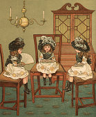 Victorian illustration of three sisters in matching dresses sitting in chairs in the dining room of their family estate 1881 Chromolithograph