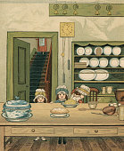 Victorian illustration of three sisters in the downstairs kitchen of their family estate 1881 Chromolithograph