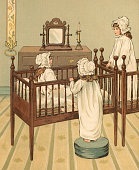 Victorian illustration of three sisters in the nursery room of their family estate 1881 Chromolithograph