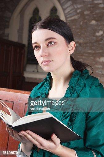 Victorian Lady Reading Her Prayerbook In Church