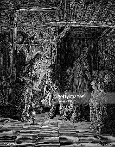 Victorian London homeless children Caption 'Found in the street' Engraving by Gustave Doré from 'London a Pilgrimage by Gustave Doré and Blanchard...