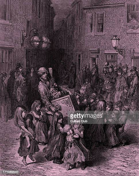 Victorian London Organ grinder with children and monkey Engraving by Gustave Doré from 'London a Pilgrimage by Gustave Doré and Blanchard Jerrold'...