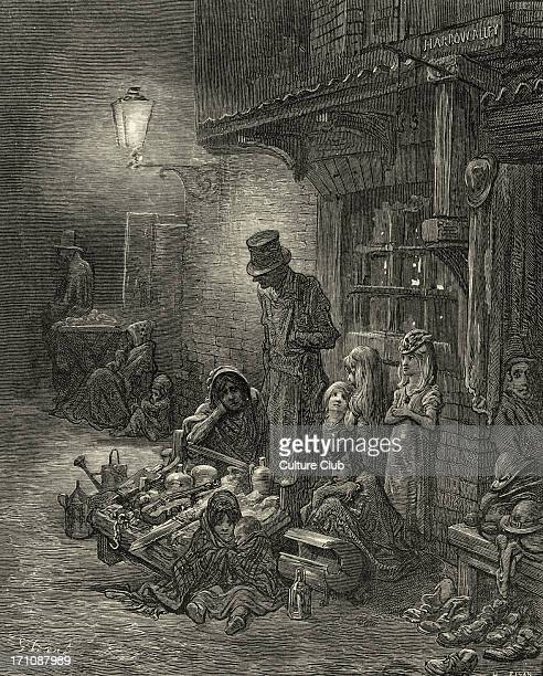 Victorian London street in Houndsditch East End of London Engraving by Gustave Doré from 'London a Pilgrimage by Gustave Doré and Blanchard Jerrold'...
