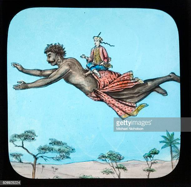 Victorian magic lantern slide The story of Aladdin and the Wonderful Lamp Aladdin rides aloft on the Genie of the lamp Late 19th century childrens'...