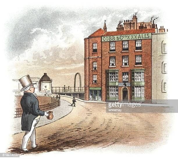 Victorian man going to a pub with a jug