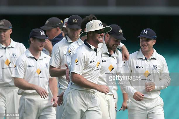 Victorian players celebrate the win over NSW during day four of the Sheffield Shield match between New South Wales and Victoria at Sydney Cricket...