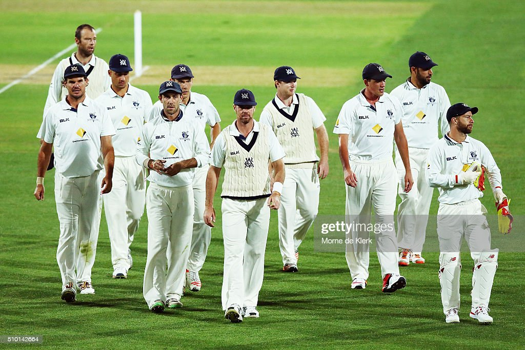 Victorian players come from the field at the end of play during day one of the Sheffield Shield match between South Australia and Victoria at Adelaide Oval on February 14, 2016 in Adelaide, Australia.
