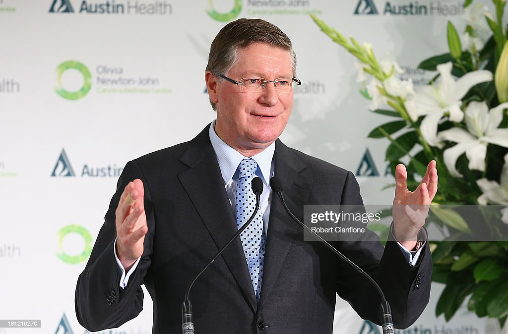 Victorian Premier Denis Napthine speaks at the formal opening of the Olivia Newton John Cancer & Wellness Centre at Austin Hospital on September 20, 2013 in Melbourne, Australia.
