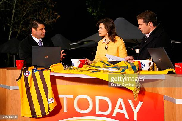 Victorian Premier Steve Bracks appears onair with hosts Lisa Wilkinson and Karl Stefanovic as part of the Today Show 25th birthday celebrations at...