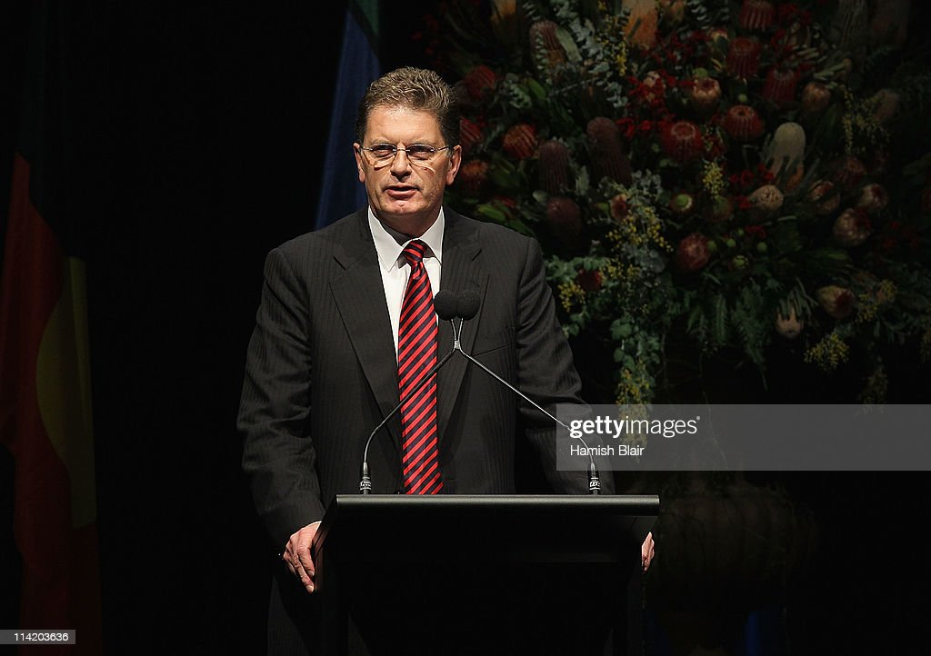 Victorian Premier Ted Baillieu speaks during the State Funeral held for former Australian boxer Lionel Rose at Festival Hall on May 16, 2011 in Melbourne, Australia. Rose, who passed away on May 8, was the first indigenous Australian to win a boxing world title and was the 1968 Australian of the Year.
