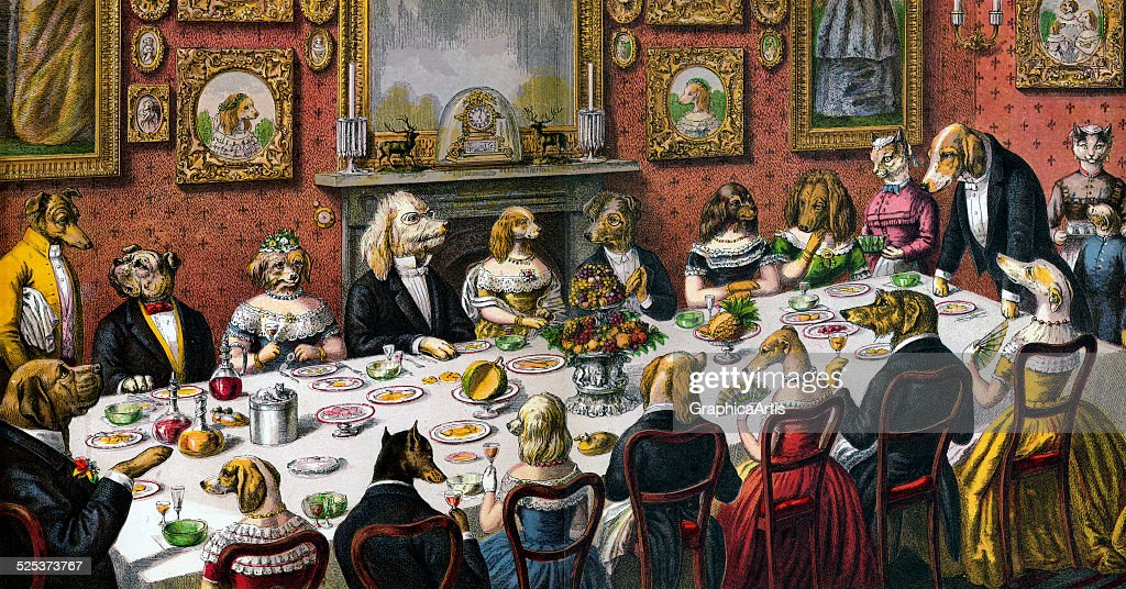 Delightful Victorian Dinner Party Part - 1: Victorian Print Of A Large Dinner Party Of Dogs In Formalwear And Cat  Servants; Hand