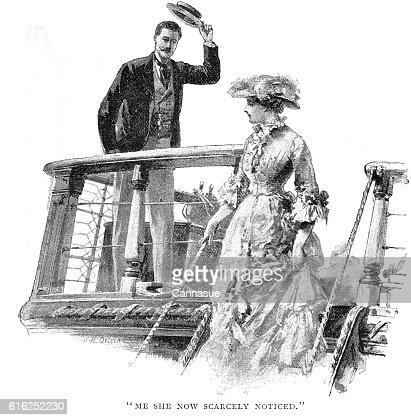 Victorian story illustration William Heysham Overend; man lady ship deck : Foto de stock