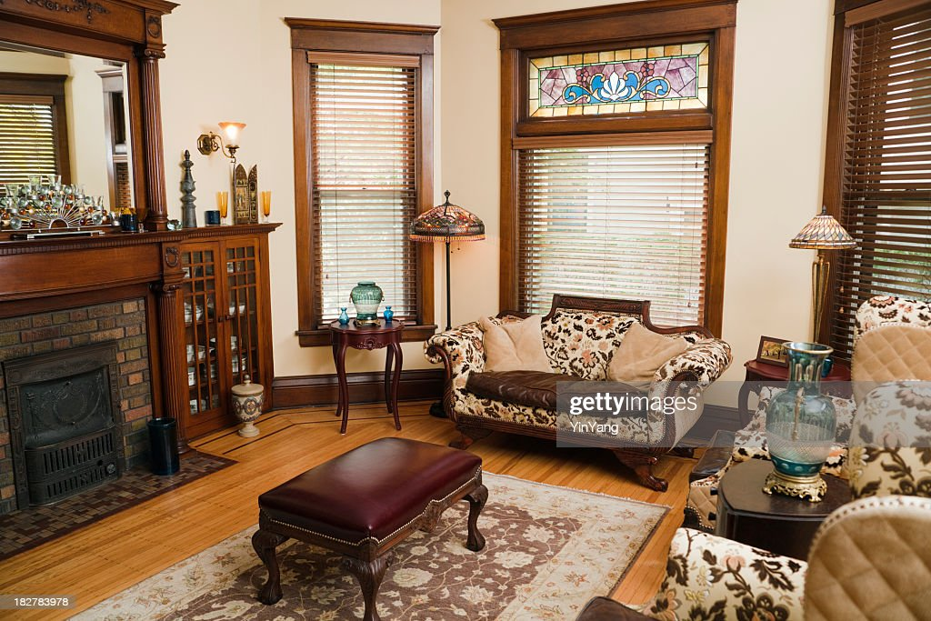 Victorian Style Living Room, Old-fashioned, Antique Domestic Residential Home Interior