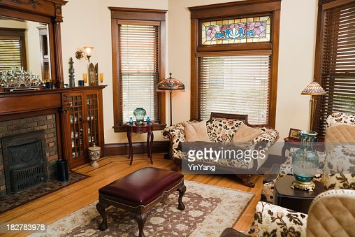 Victorian Style Living Room Oldfashioned Antique Domestic Residential Home Interior Stock Photo