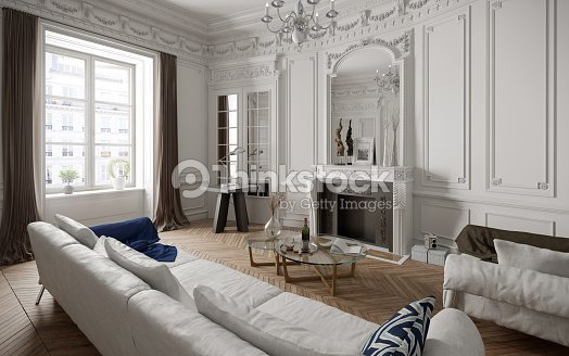 Victorian Style Living Room With Modern Furniture Stock Photo ...