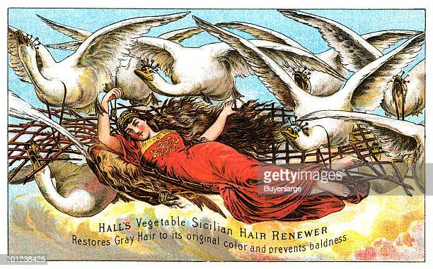 A Victorian trade card advertises a liquid scalp treatment accompanied by an illustration of a woman in a flowing dress as she rides a basket flown...