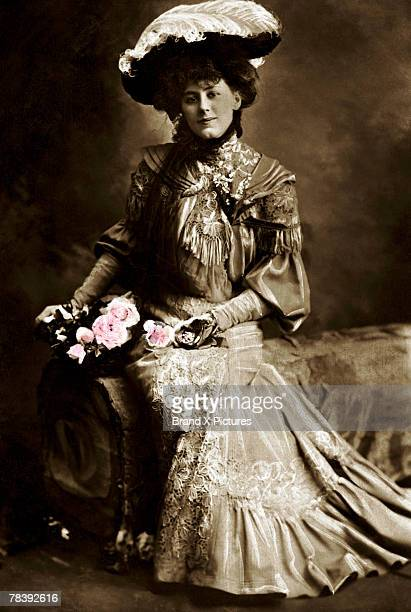Victorian woman with roses