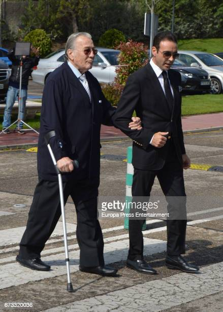 Victoriano Valencia and Enrique Ponce attend the funeral chapel for the bullfighter Sebastian Palomo Linares on April 25 2017 in Madrid Spain