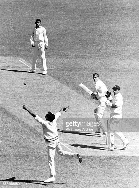 Victoria's Bob Cowper edges the ball over India's Chandu Borde watched by India's Bhagwat Chandrasekhar and Farokh Engineer