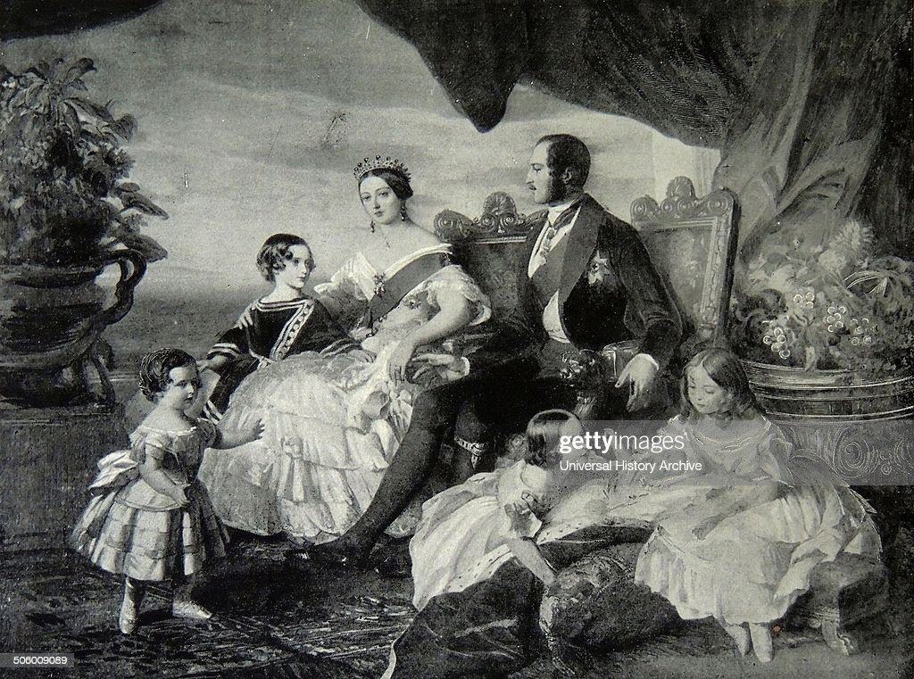 Victoria's family in 1846 by Franz Xaver Winterhalter left to right: Prince Alfred and the Prince of Wales, the Queen and Prince Albert, Princesses Alice, Helena and Victoria.