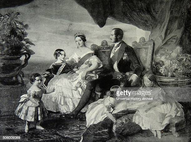 Victoria's family in 1846 by Franz Xaver Winterhalter left to right Prince Alfred and the Prince of Wales the Queen and Prince Albert Princesses...