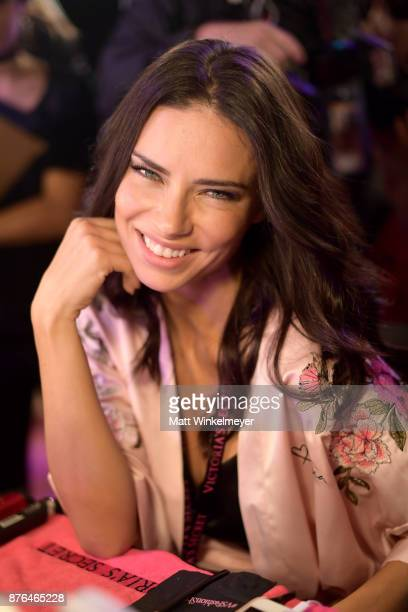Victoria's Secret Angel Adriana pose in Hair Makeup during 2017 Victoria's Secret Fashion Show In Shanghai at MercedesBenz Arena on November 20 2017...