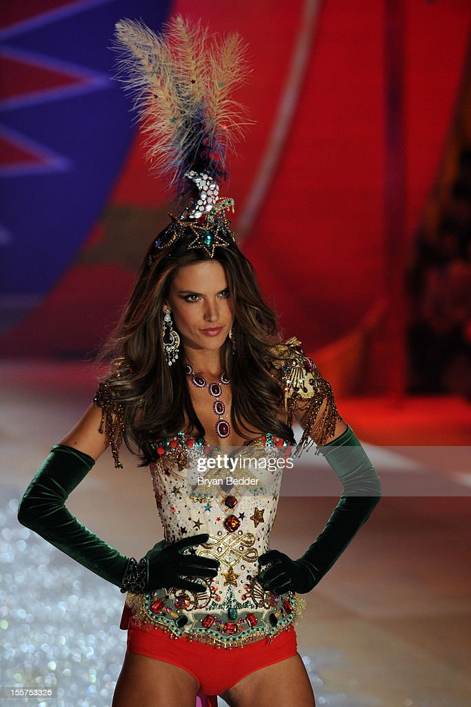 Victoria's Secret Angel <a gi-track='captionPersonalityLinkClicked' href=/galleries/search?phrase=Alessandra+Ambrosio&family=editorial&specificpeople=203062 ng-click='$event.stopPropagation()'>Alessandra Ambrosio</a> walks the runway during the Victoria's Secret 2012 Fashion Show on November 7, 2012 in New York City.