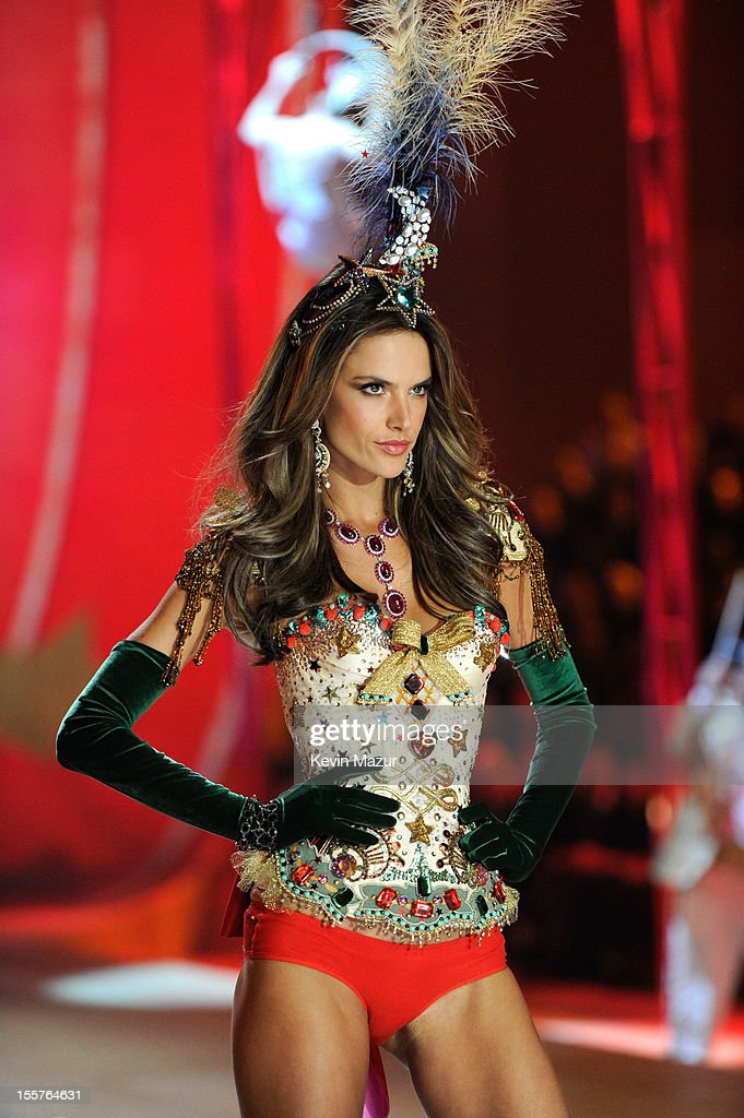 Victoria's Secret Angel <a gi-track='captionPersonalityLinkClicked' href=/galleries/search?phrase=Alessandra+Ambrosio&family=editorial&specificpeople=203062 ng-click='$event.stopPropagation()'>Alessandra Ambrosio</a> walks the runway during the 2012 Victoria's Secret Fashion Show at the Lexington Avenue Armory on November 7, 2012 in New York City.