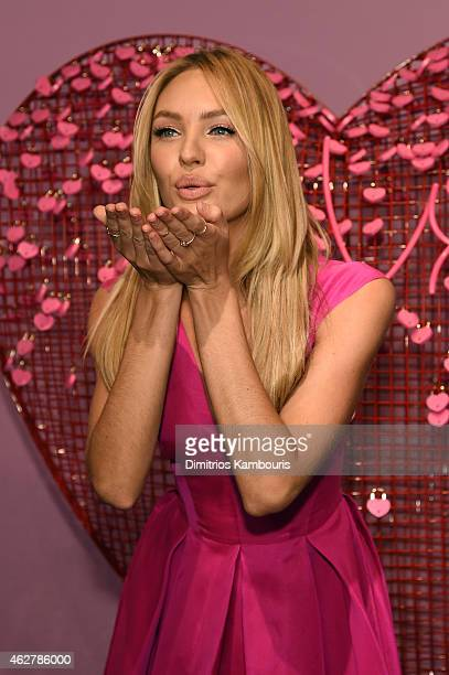 Victoria's Secret Angel Candice Swanepoel celebrates Valentine's Day InStore at Victoria's Secret Herald Square on February 5 2015 in New York City