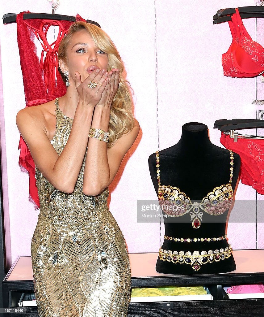 Victoria's Secret Angel Candice Swanepoel shows off The Royal Fantasy Bra at Victoria's Secret in Herald Square on November 6, 2013 in New York City.