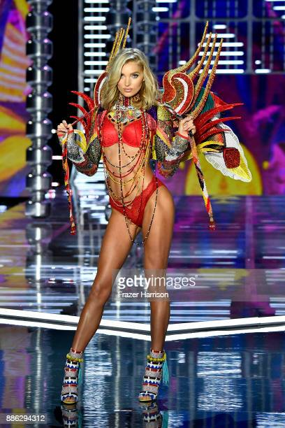 Victoria's Secret Angel Elsa Hosk wears look made with Swarovski crystals on the runway during the 2017 Victoria's Secret Fashion Show In Shanghai at...