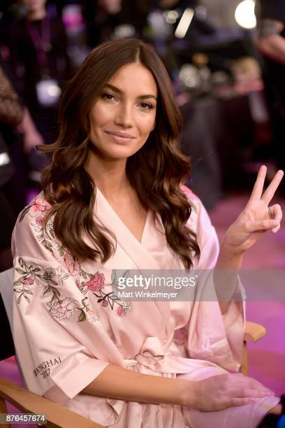 Victoria's Secret Angel Lily Aldridge poses in Hair Makeup during 2017 Victoria's Secret Fashion Show In Shanghai at MercedesBenz Arena on November...