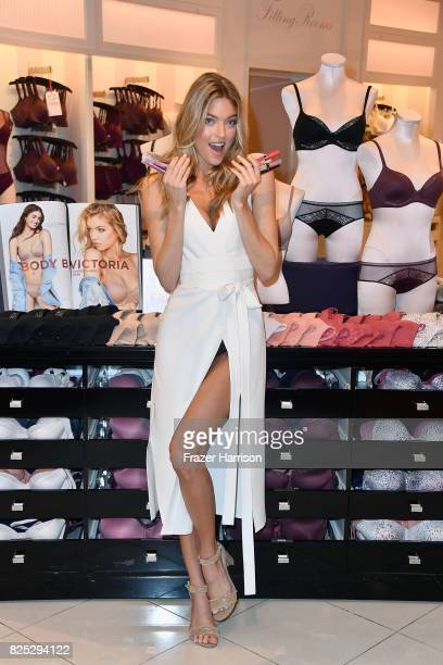 Victoria's Secret Angel Martha Hunt introduces new Body by Victoria collection at Victoria's Secret Beverly Center on August 1 2017 in Los Angeles...