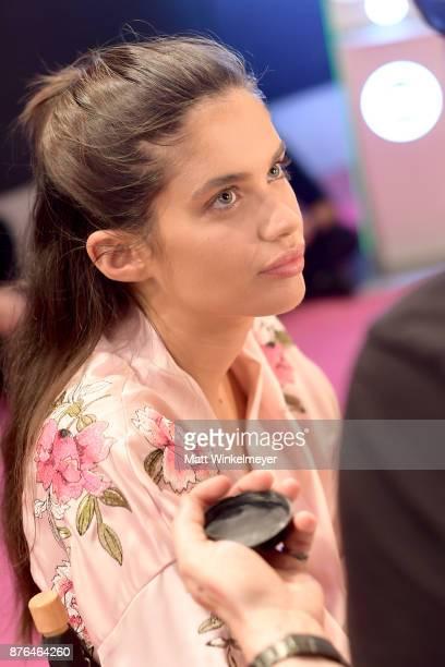 Victoria's Secret Angel Sara Sampaio prepares in Hair Makeup during 2017 Victoria's Secret Fashion Show In Shanghai at MercedesBenz Arena on November...