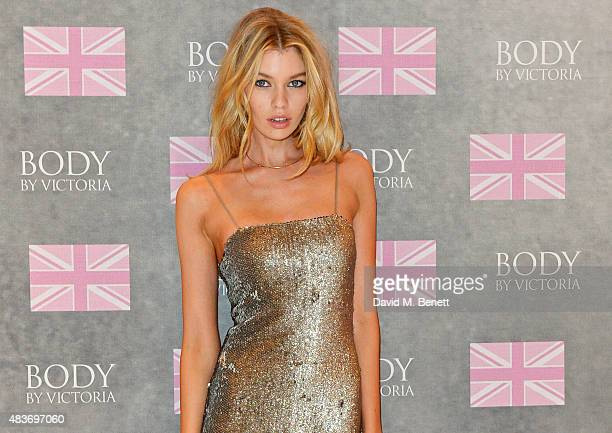 Victoria's Secret Angel Stella Maxwell celebrates the new 'Body By Victoria' collection at Victoria's Secret New Bond Street on August 12 2015 in...