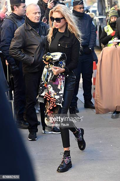 Victoria's Secret Angel Stella Maxwell is seen arriving at le Grand Palais ahead of the 2017 Fashion Show