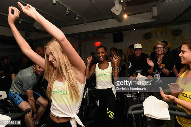 Victoria's Secret Angels Elsa Hosk and Jasmine Tookes attend the Victoria's Secret Angels' Charity Ride For Pelotonia at SoulCycle West Village on...