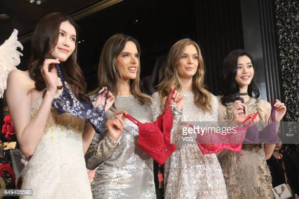 Victoria's Secret Angels He Sui Alessandra Ambrosio Josephine Skriver and Ming Xi Mengyao attend the Grand Opening of Victoria's Secret Shanghai...