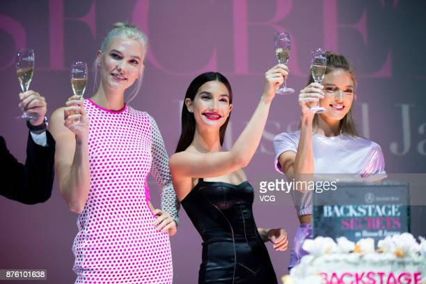 Victoria's Secret Angels Karlie Kloss Lily Aldridge and Martha Hunt attend MercedesBenz 'Backstage Secrets' By Russell James Book Launch Shanghai...