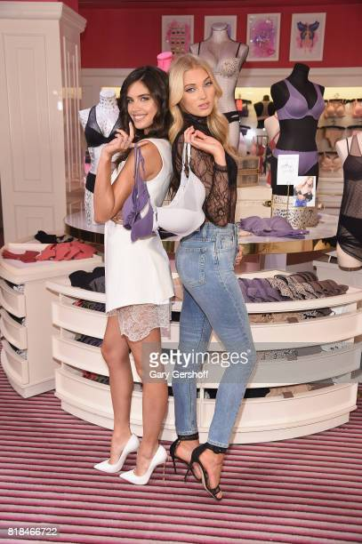 Victoria's Secret Angels Sara Sampaio and Elsa Hosk celebrate the TShirt Bra Collection at Victoria's Secret Fifth Ave on July 18 2017 in New York...