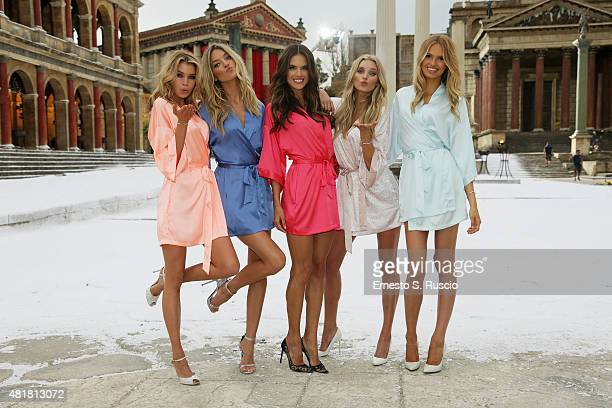 Victoria's Secret Angels Stella Maxwell Martha Hunt Alessandra Ambrosio Elsa Hosk and Romee Strijd land at Cinecitta Studios on July 23 2015 in Rome...