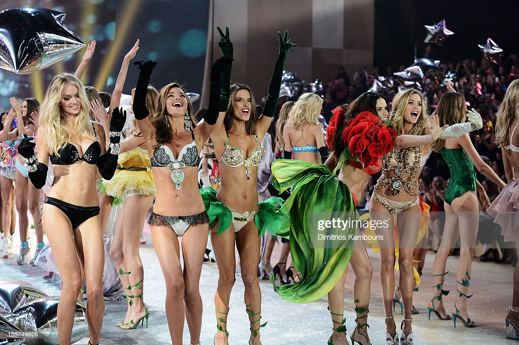 Victoria's Secret Angels walk the runway during the 2012 Victoria's Secret Fashion Show at the Lexington Avenue Armory on November 7, 2012 in New York City.