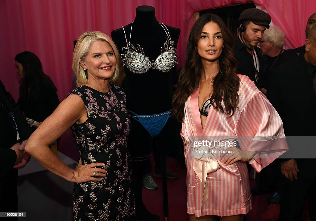 Victoria's Secret CEO Sharen Turney and Lily Aldridge are seen backstage before the 2015 Victoria's Secret Fashion Show at Lexington Avenue Armory on...