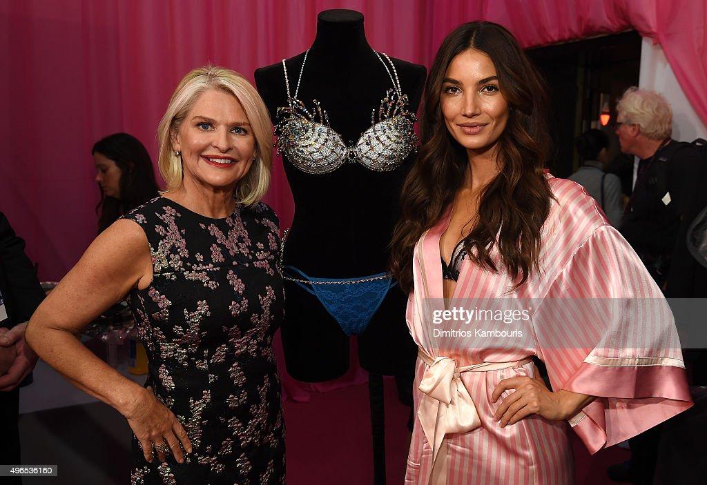 Victoria's Secret CEO Sharen Turney and Lily Aldridge backstage before the 2015 Victoria's Secret Fashion Show at Lexington Avenue Armory on November...