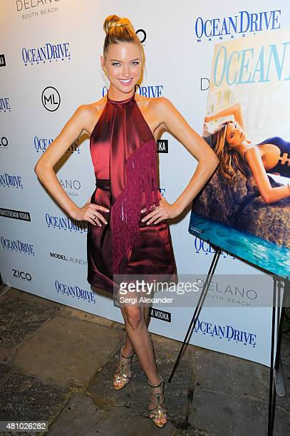 Victoria's Secret fashion model Martha Hunt celebrates Ocean Drive Magazine July/August cover at Delano Beach Club on July 16 2015 in Miami Beach...