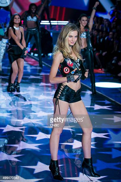 Victoria's Secret Fashion Show Pictured Model Bridget Malcolm walks the runway during the 2015 Victoria's Secret Fashion Show in New York City on...