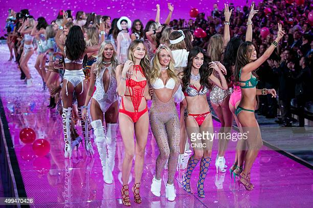 Victoria's Secret Fashion Show Pictured Models Behati Prinsloo Candice Swanepoel and Lily Aldridge who wears the Fantasy Bra valued at $2 million...